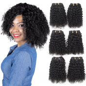 Brazilian Curly Hair 3 Bundles 100% Real Human Hair Weft Extensions Jerry Curl Jet Black Grade 6A Short Hair Weave By Originea