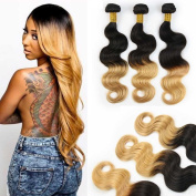 Fashion Lady Hair 7A Grade Peruvian Virgin Body Wave 3Bundles 100% Unprocessed Human Hair Extensions Ombre Bloned 2 Tone Hair Weft