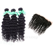 Suerkeep Virgin Hair With Lace Frontal Brazilian Deep Curly With Closure Deep Curly Hair 3 Bundles With 13×4 Frontal