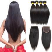 Peruvian Virgin Hair with closure Weaves 8A Unprocessed Virgin Human Hair Peruvian Straight Hair Extensions 3 bundles with Free Part Lace Closure (44)