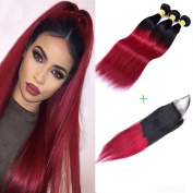 XCCOCO Hair Two Tone Ombre Straight Hair Bundles Weave 3 Bundles 300g Peruvian Black to Red Remy Ombre Straight Hair with Invisible Lace Closure
