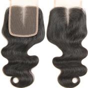 20cm Lace Closure Body Wave 10cm x 10cm Middle Part Lace Closure Brazilian Virgin Remy Human Hair 100% Unprocessed Natural Colour Soft Silky Hair Products for Black Women 20cm - 50cm