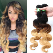 Your Soul Girl Hair Brazilian Ombre Human Hair Extensions 1B 4 27 Three Tone 8A Blonde Weave Bundles Ombre Brazilian Hair Body Wave 3 Pcs Lot Mixed Lengths