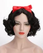 Black bows for women's and children's short staple Halloween costume wigs