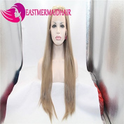 Eastmermaid Long Blond stright 60cm heat resistant Synthetic lace front cosplay Christmas Party Wigs