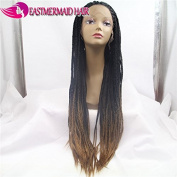 Eastmermaid Synthetic Fully Braided Lace Front Wigs Omber Light Brown Braided Hair 70cm Wigs