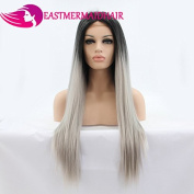Eastmermaid Long Straight Black Root Ombre Grey 60cm heat resistant Synthetic lace front cosplay wigs for women