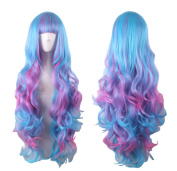 AneShe 70cm Long Curly Multi-Colour Lolita Cosplay Wig Party Wig