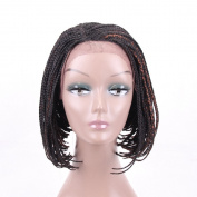 HAIR WAY Box Braided Wigs Bob Lace Front Wig for Black Women Glueless Short Bob Braided Lace Wig with Baby Hair for Daily Wear Half Hand Tied 30cm #1B/30