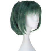 Superwigy Nature Straight Dark Green Synthetic Wig with Ponytail and Bangs for Cosplay ""