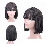 HAIR WAY Box Braided Wigs Bob Style Heat Resistant Fibre Wig with Neat Bangs for Black Women Full Machine Made None Lace Glueless Synthetic Bob braid Wigs for Daily Wear #1b 30cm