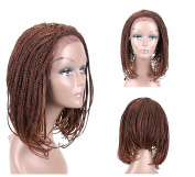 HAIR WAY Box Braided Wigs Bob Style Lace Front Wig for Black Women Glueless Medium Length Bob Braided Lace Wig with Baby Hair for Daily Wear Half Hand Tied 46cm #27/30