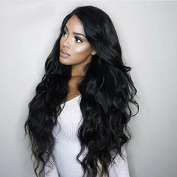 Ten Chopstics 180% Density 13x6 Long Space Lace Front Human Hair Wigs With Baby Hair Peruvian Non-remy Hair For Black Women Natural Colour Body Wave Glueless Full Lace Wig Virgin Hair Bleached Knots