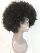 WOB Hair 20cm 150% Density Human Hair Afro Curly Wig for Black Women Free Part Machine Made None Lace Wig Black Hair Wig African American Natural Colour
