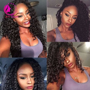 QIRUI HAIR Loose Curly Wave Lace Front Wig Virgin Hair Glueless Human Hair with Baby Hair For African Americans 130% Density Natural Colour 41cm