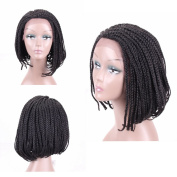 HAIR WAY Box Braided Wigs Bob Style Lace Front Wig for Black Women Glueless Short Bob Braided Lace Wig with Baby Hair for Daily Wear Half Hand Tied 36cm #1B