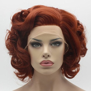 Lushy Short Burgundy Wig Heat Friendly Heavy Density Synthetic Lace Front Wig