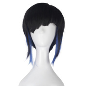 Miss U Hair Synthetic Girl Short Straight Hair Natural Black with Blue Strands Movie Cosplay Costume Wig