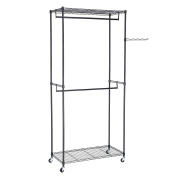 Songmics Heavy Duty Metal Clothes Rail with 2 Movable Hanging Rods 2 Adjust Shelves for storage 90 x 45 x 200 cm Black LGR60P