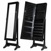 Homegear Modern Free Standing Jewellery Cabinet / Full Length Bedroom Mirror