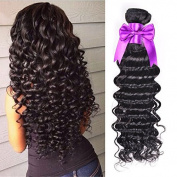 OYM HAIR 10A Brazilian Deep Wave Virgin Hair Extensions 4 Bundles 100% Unprocessed Human Hair Weave Natural Colour can be Dyed and Bleached