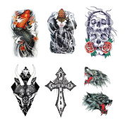 Fake Waterproof Removable Temporary Tattoos - Fashion Lady Long Lasting Body Art Stickers - Skull Flower Weeds Elephant Cross Ferocious Wolf Lucky Fish - 6 Styles Body Painting Premium Kit for Guys