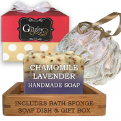 Luxury Handmade Soap Bath Gift Set - Includes Loofah & Bamboo Soap Dish