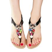 Hot Sale!Women Sandals,Canserin Women's Fashion Summer Bohemia Sweet Beaded Sandals Clip Toe Sandals Beach Shoes (7 B