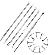 5pcs Blackhead Remover Kit + Ear Pick ASIMOON Pimple Extractor Tool Comedone Removal Set Acne Remover Kit Treatment for Blemish Whitehead Popping Zit Removing for Risk Free Nose with Travel Case