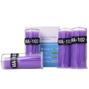 FlyItem 400 Pcs Purple Professional Ultrafine Disposable Micro Mascara Applicator Brush Bendable Individual Eyelash Extension Mini Fibre Swabs Eye Lash Makeup Cosmetic Tool