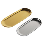 MyLifeUNIT Stainless Steel Vanity Trays, Cosmetic Organiser Trays for Makeup, Beauty Products, Jewellery, Hand Towels