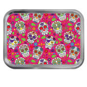 Skulls Pink Day of the Dead Design 60ml Silver or Gold Tin Tobacco Storage
