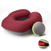 Koyoso Inflatable Travel Pillow Air Headrest Support for Beach Tent Camping Car Plane Easy Soft Blow-up U-type Roseo