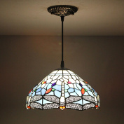 30cm Vintage Pastoral Rustic Stained Glass Tiffany Dragonfly Ceiling Lamp Pendant Lamp Living Room Light Hallway Lamp