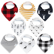 Bandana Baby Bibs for Boys and Girls by KiddyStar, Unisex 8-Pack 100% Organic Cotton Bib Set (Plaid), Cute Newborn and Cool Baby Shower Gift for Teething and Drooling, Soft and Absorbent