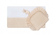 "BlueberryShop Luxury Emboidered Cotton Pram Crib Moses Basket 2pc Set Quilt & Pillow (29.5"" x 25.5"") ( 0-12 m ) ( 75 x 65 cm ) Beige"