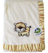 Flush Beige PV Unisex Baby Blanket, Tiger Design