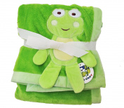Plush Green PV 3D Animal Baby Blanket, Frog Design