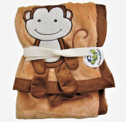 Plush Brown PV 3D Animal Baby Blanket, Monkey Design
