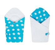 BlueberryShop Reversible Dot Popcorn Minky Fleece Cotton Swaddle Wrap Blanket Sleeping Bag for Newborn ( 0-3m ) ( 75 x 80 cm ) Blue White