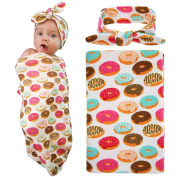 Elesa Miracle Newborn Baby Swaddle Blanket and Headband Value Set,Receiving Blankets, Doughnut