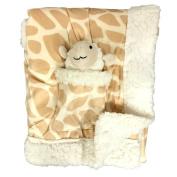 Metta Baby Blanket Animal Giraffe Print Velour Sherpa Faux Sheep Fur Unisex Plush Toy in Pocket 30 by 40 Tan