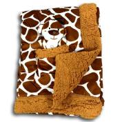 Metta Baby Blanket Animal Giraffe Print Velour Sherpa Faux Sheep Fur Unisex Plush Toy in Pocket 30 by 40 Brown