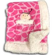 Metta Baby Blanket Animal Giraffe Print Velour Sherpa Faux Sheep Fur Pink Girls Plush Toy in Pocket 30 by 40
