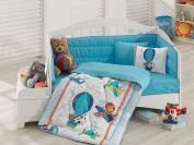 Flying Friends - Deluxe Crib Bedding Baby Quilt Set - 100% Cotton - 6 pieces (Blue) - Made in Turkey