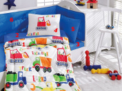Worksite - Deluxe Crib Bedding Baby Quilt Set - 100% Cotton - 6 pieces (Blue) - Made in Turkey
