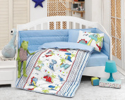 Dino - Deluxe Crib Bedding Baby Quilt Set - 100% Cotton - 6 pieces (Blue) - Made in Turkey