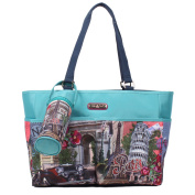 Europe Print Multicoloured Spacious Nappy Bag with Mat and Cooling Bag