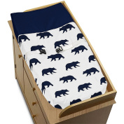 Navy Blue and White Changing Pad Cover for Big Bear Collection by Sweet Jojo Designs