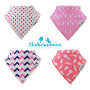 BabiesAmour Baby Baby Bandana Bib for Drooling, Super absorbent and Soft, Gift Set of Girls